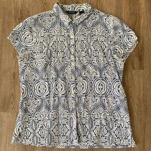 Eddie Bauer XL S/S Button up blue white blouse